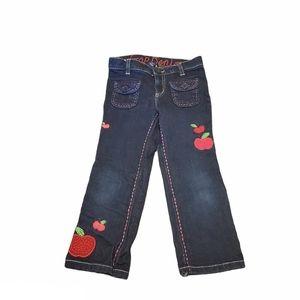 Gap denim kids blue jeans, embroidered apples, 4T
